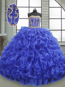 Beauteous Sleeveless Beading and Appliques and Ruffles Lace Up 15 Quinceanera Dress