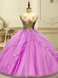 Colorful Sleeveless Floor Length Appliques Lace Up Quinceanera Gown with Lilac