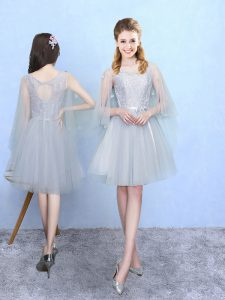 Beautiful Knee Length Lace Up Dama Dress Silver for Wedding Party with Lace