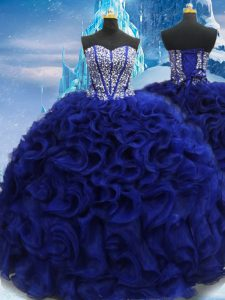 Graceful Royal Blue Lace Up Sweetheart Beading 15 Quinceanera Dress Fabric With Rolling Flowers Sleeveless