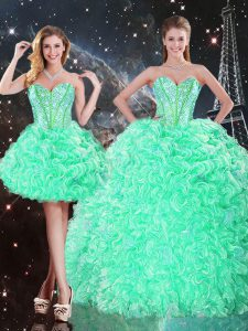 Apple Green Sweetheart Lace Up Beading and Ruffles Sweet 16 Dress Sleeveless