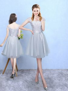 Knee Length Silver Court Dresses for Sweet 16 V-neck Cap Sleeves Lace Up