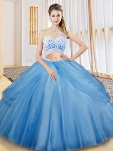 Glorious Baby Blue One Shoulder Neckline Beading and Ruching and Pick Ups Quinceanera Dress Sleeveless Criss Cross