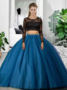 Beauteous Blue Backless Quinceanera Gown Lace and Ruching Long Sleeves Floor Length