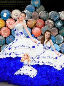Designer Sleeveless Organza Brush Train Lace Up Sweet 16 Quinceanera Dress in Royal Blue with Embroidery and Ruffles