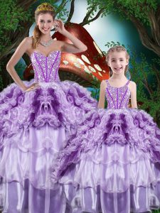 Pretty Sleeveless Organza Floor Length Lace Up Sweet 16 Dresses in Multi-color with Beading and Ruffles and Ruffled Layers