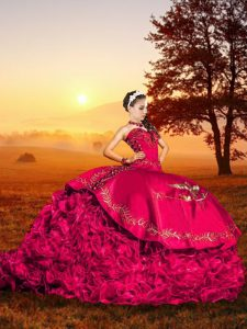 Fashionable Brush Train Ball Gowns Quince Ball Gowns Red Sweetheart Organza Sleeveless Lace Up