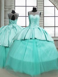 High Class Turquoise Ball Gowns Beading Sweet 16 Dress Lace Up Tulle Sleeveless