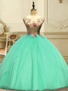 Floor Length Lace Up Sweet 16 Dresses Apple Green for Military Ball and Sweet 16 and Quinceanera with Appliques