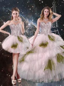 Champagne Sweetheart Lace Up Beading and Ruffled Layers and Sequins Sweet 16 Dress Sleeveless