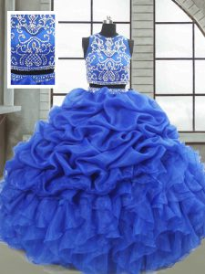 Royal Blue Zipper 15 Quinceanera Dress Beading and Ruffles and Pick Ups Sleeveless Floor Length
