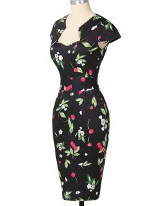 Cute Multi-color Column/Sheath Strapless Cap Sleeves Printed Knee Length Zipper Pattern Homecoming Dress