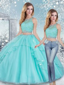 Fabulous Aqua Blue Two Pieces Beading and Lace and Sashes ribbons Sweet 16 Dresses Clasp Handle Tulle Sleeveless Floor Length