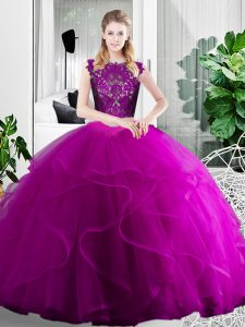 Fabulous Two Pieces Quinceanera Gowns Fuchsia Scoop Tulle Sleeveless Floor Length Zipper