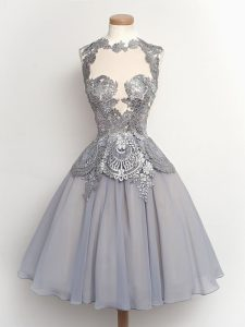 Grey High-neck Lace Up Lace Quinceanera Dama Dress Sleeveless