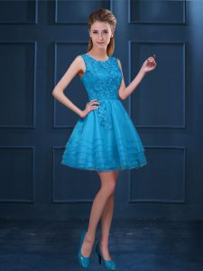 Latest Baby Blue A-line Scoop Sleeveless Tulle Knee Length Zipper Lace and Ruffled Layers Vestidos de Damas