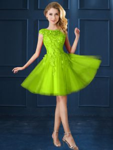 Yellow Green A-line Bateau Cap Sleeves Tulle Knee Length Lace Up Lace and Appliques Vestidos de Damas