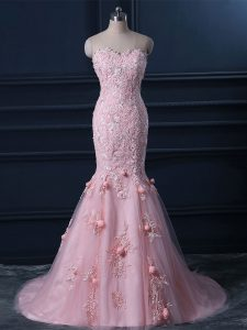 Baby Pink Sleeveless Tulle Brush Train Lace Up for Prom and Party and Military Ball