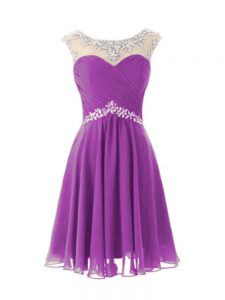 Hot Sale Knee Length Purple Prom Dresses Chiffon Cap Sleeves Beading