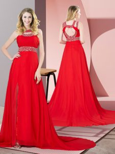 Fashion Chiffon Scoop Sleeveless Brush Train Backless Beading Prom Party Dress in Red