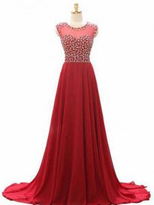 Traditional Wine Red Prom Dresses Chiffon Brush Train Sleeveless Beading