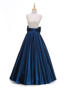 Navy Blue A-line Beading and Bowknot Prom Dress Backless Taffeta Sleeveless Floor Length