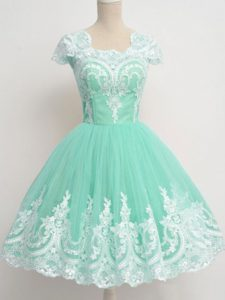 Apple Green Vestidos de Damas Prom and Party and Wedding Party with Lace Square Cap Sleeves Zipper