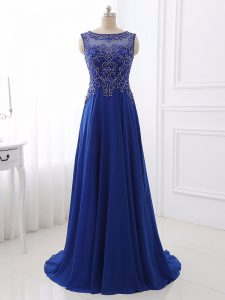 Bateau Sleeveless Prom Dress Sweep Train Beading Royal Blue Chiffon