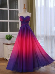 Multi-color Sleeveless Beading and Ruching Floor Length