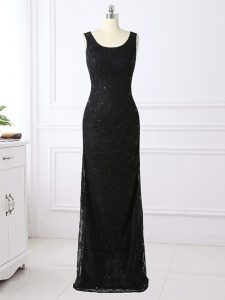 Chic Black Scoop Zipper Lace Evening Dress Long Sleeves
