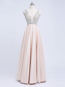 Champagne Backless Homecoming Dress Beading and Belt Sleeveless Floor Length