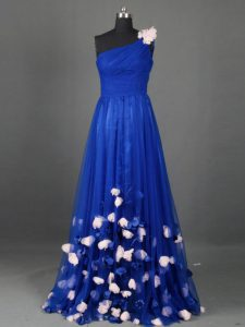Perfect Royal Blue Sleeveless Beading and Hand Made Flower Floor Length Prom Evening Gown