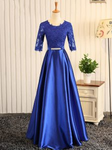 Inexpensive Embroidery and Belt Prom Party Dress Blue Zipper Half Sleeves Floor Length