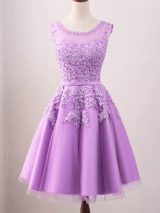 Lilac Lace Up Scoop Lace Quinceanera Dama Dress Tulle Sleeveless