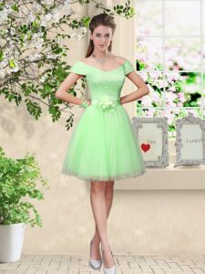 Glamorous Apple Green A-line Lace and Belt Quinceanera Court Dresses Lace Up Tulle Cap Sleeves Knee Length