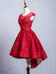 Attractive Lace Scoop Short Sleeves Lace Up Lace and Appliques and Belt Prom Gown in Red