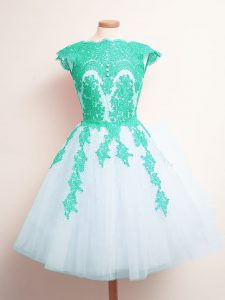 Attractive Scalloped Sleeveless Lace Up Quinceanera Dama Dress Multi-color Tulle