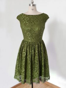 Fashion Scoop 3 4 Length Sleeve Lace Up Court Dresses for Sweet 16 Olive Green Lace