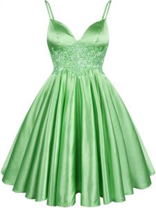 Elastic Woven Satin Spaghetti Straps Sleeveless Lace Up Lace Dama Dress in Green