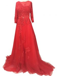 Red Tulle Zipper Prom Party Dress Long Sleeves Brush Train Lace and Appliques and Belt