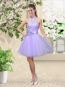 Admirable Lilac Damas Dress Prom and Party with Lace and Belt Halter Top Sleeveless Lace Up