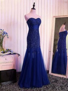Discount Sleeveless Lace Up Floor Length Beading and Lace and Appliques and Pleated Dress for Prom