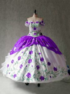 White And Purple Ball Gowns Embroidery and Ruffles Vestidos de Quinceanera Lace Up Organza and Taffeta Cap Sleeves Floor Length