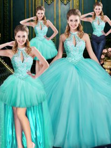 Sleeveless Tulle Floor Length Lace Up Quinceanera Dresses in Aqua Blue with Beading and Pick Ups