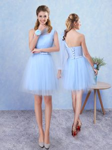 Graceful Sleeveless Mini Length Belt Lace Up Quinceanera Court of Honor Dress with Aqua Blue