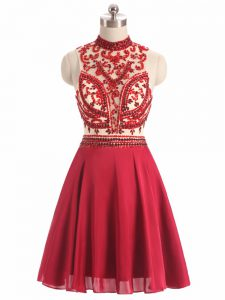 Red Prom Dresses Prom and Party and Military Ball with Beading Halter Top Sleeveless Backless