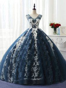 Designer Navy Blue Sleeveless Floor Length Ruffles and Pattern Lace Up Sweet 16 Quinceanera Dress