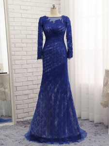 Luxurious Blue Tulle Zipper Prom Gown Long Sleeves Brush Train Lace