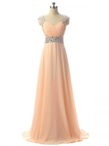 Peach Empire Chiffon V-neck Cap Sleeves Beading Floor Length Lace Up