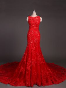 Elegant Backless Homecoming Dress Red for Prom and Military Ball and Wedding Party with Beading and Lace and Appliques Court Train
